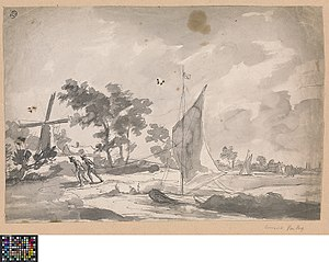 Landschap met boottrekkers