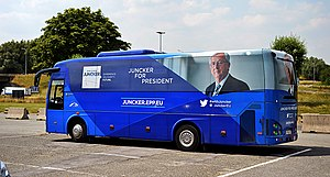 Juncker Commission - The campaign bus of Jean-Claude Juncker used for the 2014 election.