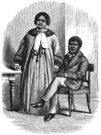 Half-caste - Last of the Tasmanians Woodcut 12 - Walter George Arthur with his half-caste wife Mary Anne