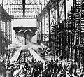 Launch of USS Ticonderoga (CV-14) at Newport News Shipbuilding on 7 February 1944.jpg
