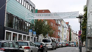 Southern Schleswig - Learn Danish banner in Flensburg, one of the major cities of Southern Schleswig
