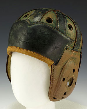 Health issues in American football - Leather helmets, the predecessor of modern football helmets, were designed to protect players from head injuries.