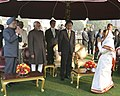 Lee Myung Bak, the Vice President, Shri Mohd. Hamid Ansari and the Prime Minister, Dr. Manmohan Singh being welcomed by the President, Smt. Pratibha Devisingh Patil during the 'At Home` being hosted by her.jpg