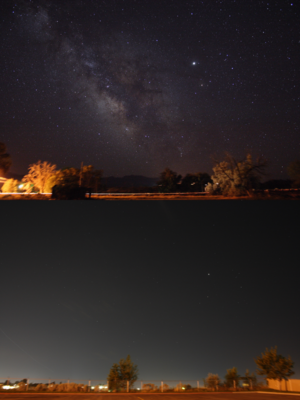Naked eye - A photographic approximation of a naked eye view of the night sky from a small rural town (top) and a metropolitan area (bottom). Light pollution dramatically reduces the visibility of stars.