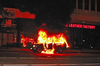 Vehicle fire - An SUV on fire in Pasadena, California