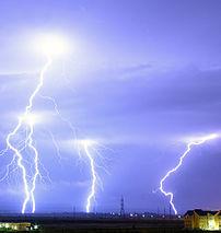 Lightning over the outskirts of Oradea, Romani...