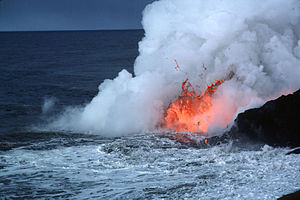 Evolution of Hawaiian volcanoes - Lava bubbles explosively as it hits the cold water.