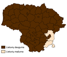 Lithuanians in Lithuania by majority and minority by muncipality-LT.png