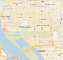 Map showing the location of Vietnam Veterans Memorial