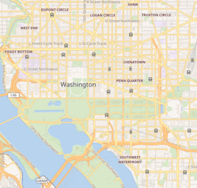 Map showing the location of Dwight D. Eisenhower Memorial (planned)
