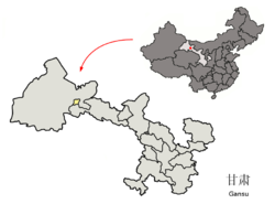 Location of Jiayuguan City jurisdiction in Gansu