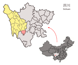 Jiulong County (red) in Garzê Prefecture (yellow) and Sichuan