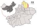Location of Qinggil within Xinjiang (China).png