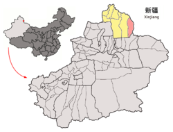 Location of Qinggil County (pink) in Altay Prefecture (yellow) and Xinjiang