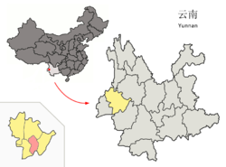 Location of Shidian County (pink) and Baoshan City (yellow) within Yunnan