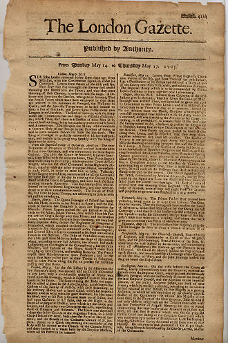 The London Gazette - The London Gazette, dated 14–17 May 1705 detailing the return of John Leake from Gibraltar after the Battle of Cabrita Point.