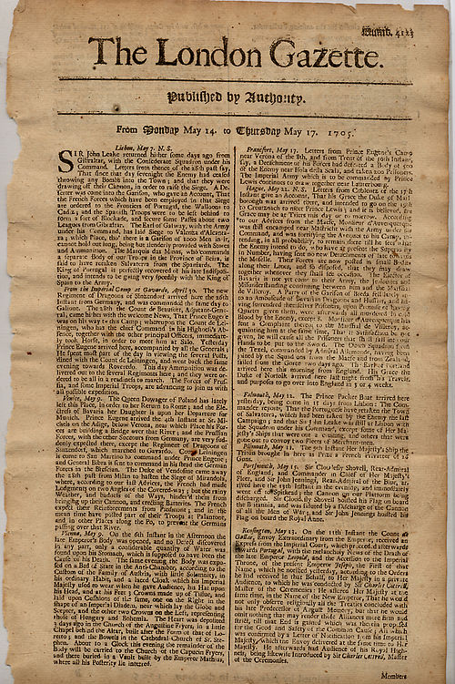 The London Gazette, dated 14-17 May 1705 detailing the return of John Leake from Gibraltar after the Battle of Cabrita Point. London Gazette(1705).jpg