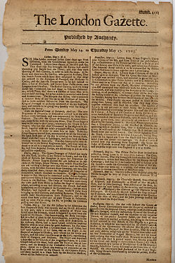 The London Gazette, dated 14-17 May 1705 detailing the return of John Leake from Gibraltar after the Battle of Cabrita point.