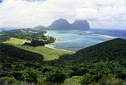 Lord Howe Island showing Mts Lidgbird and Gower.