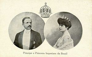 "Prince Luís of Orléans-Braganza (1878–1920) - Luís and his wife, Maria Pia. Below, in old Portuguese: ""Prince and Princess Imperial of Brazil"""