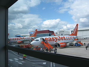 Easyjet plane at Luton airport.