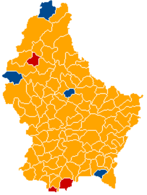 Luxembourg general election, 2013 - Image: Luxembourg legislative election 2013 communes map