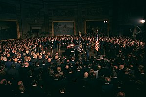 Lying in state - Richard Nixon and members of Congress honor Lyndon B. Johnson who lay in state in the Capitol rotunda on January 24, 1973.