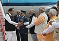M. Venkaiah Naidu being received by the Governor of Punjab & the Administrator of Chandigarh, Shri V.P. Singh Badnore, the Governor of Haryana, Shri Kaptan Singh Solanki, the Chief Minister of Haryana.jpg