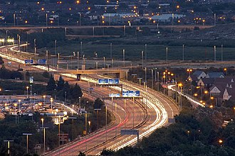 M27 motorway - Looking down onto the M27 from Portsdown Hill
