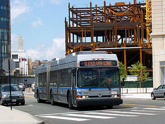 Dual-mode bus - Boston Neoplan AN460LF dual-mode trolleybus, operating in diesel mode (with its trolley poles lowered)