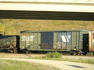 Montana Rail Link - Montana Rail Link boxcar on the CRANDIC at Cedar Rapids, Iowa