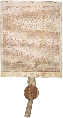 Magna Carta (1297 version with seal, owned by David M Rubenstein).png