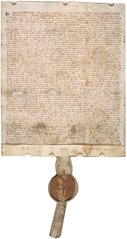 1297 version of the Great Charter, on display in the National Archives Building in Washington, D.C. Magna Carta (1297 version with seal, owned by David M Rubenstein).png