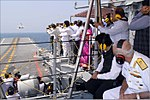 Maharashtra CM, MPs, MLAs and senior Maharashtra Government functionaries witnessing the Air Power Demonstration onboard INS Vikramaditya.jpg