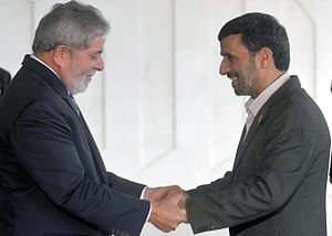 Brazil–Iran relations - President Luiz Inácio Lula da Silva welcomes the president of the Islamic Republic of Iran, Mahmoud Ahmadinejad, in Brasília.