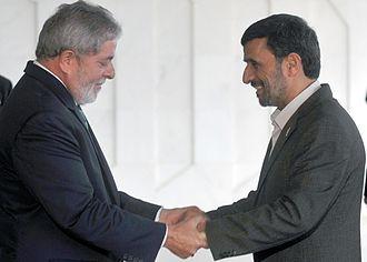 Brazil–Iran relations - President Luiz Inácio Lula da Silva welcomes the president of the Islamic Republic of Iran, Mahmoud Ahmadinejad, in Brasília.