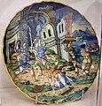 Maiolica di urbino, orazio fontana, tarpea uccisa dai sabini, 1550 ca.jpg
