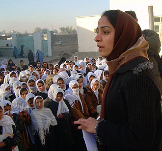 Malalai Joya - February 19, 2007 - Joya addresses students in a girls' school in Farah, Afghanistan.