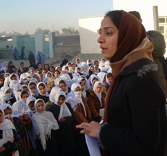 Afghan democracy activist Malalai Joya visiting a girls' school in 2007 (image: AfghanKabul)