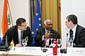 Mallikarjun Kharge with the European Union Commissioner for Employment, Social affairs and Equal Opportunities, Mr. Laszlo Andor, at the India-EU Summit, at Brussels on July 05, 2010 (1).jpg