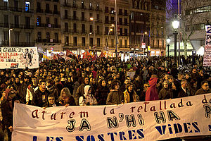 Anti-austerity movement in Spain - Demonstration in Barcelona on 22 January 2011, against the raise in the retirement age