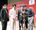Manish Tewari lighting the lamp at the inaugural ceremony of the Chinese Film Festival 2013, in New Delhi. The Minister of State Administration for Press, Publication, Radio, Film & Television, Government of China.jpg