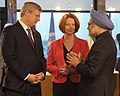 Manmohan Singh with the Prime Minister of Australia, Ms. Julia Gillard and the Prime Minister of Canada, Mr. Stephen Harper, during the 3rd session of G-20 Summit, in Cannes, France on November 04, 2011.jpg