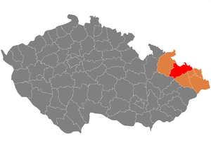 District location in the Moravian-Silesian Region within the Czech Republic