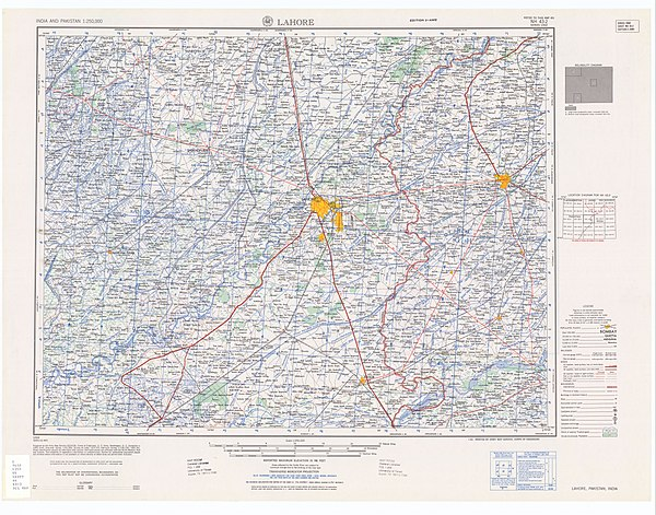 The Punjabi section of the Radcliffe Line Map India and Pakistan 1-250,000 Tile NH 43-2 Lahore.jpg