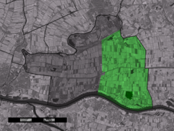 The village centre (dark green) and the statistical district (light green) of Herwijnen in the municipality of Lingewaal.