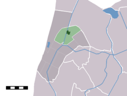 The town centre (darkgreen) and the statistical district (lightgreen) of 't Zand in the former municipality of Zijpe.