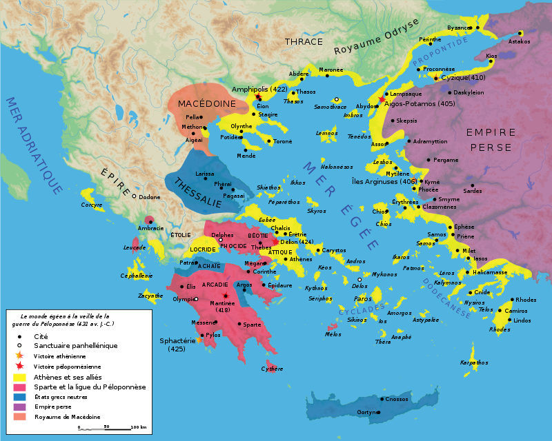 Map Peloponnesian War 431 BC-fr.svg