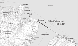 "Widerøe Flight 933 - Map of Flight 933's route. The thick line is the route followed by radar; ""vrak"" is where the wreckage was found"