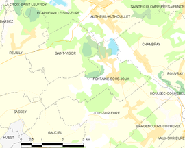 Mapa obce Fontaine-sous-Jouy